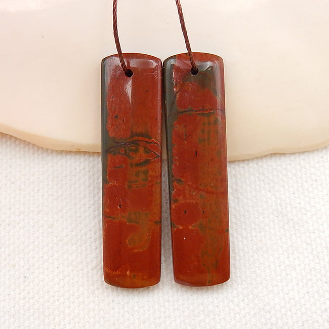 Multicolor Picasso Jasper Gemstone Earrings Stone Pair, 40x10x4mm, 9.0g - MyGemGarden