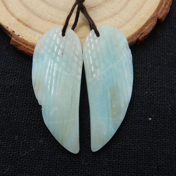Amazonite Carved Wings Earrings Stone Pair, 38x15x4mm, 7.7g - MyGemGarden