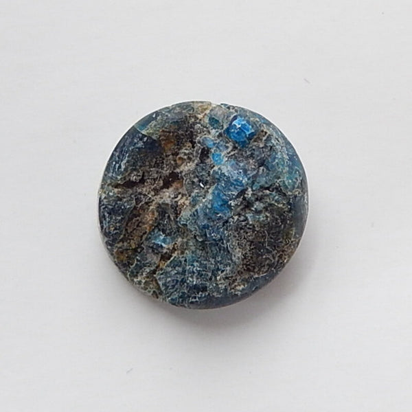Natural Blue Apatite Crystal Gemstone 16mm round cabochon, 16x16x8mm, 3.7g - MyGemGarden