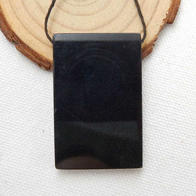 Natural Black Stone And Picasso Jasper Drilled Glued Pendant Bead, 45x29x5mm, 18.7g - MyGemGarden
