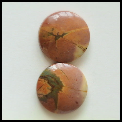 Natural Multi-Color Picasso Jasper Gemstone 16mm round cabochons Pair, 16x16x5mm, 4.1g - MyGemGarden