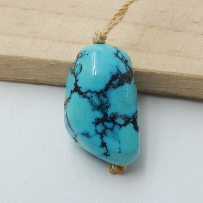 Natural Turquoise Drilled Pendant Bead, 23x15x12mm, 6.3g - MyGemGarden