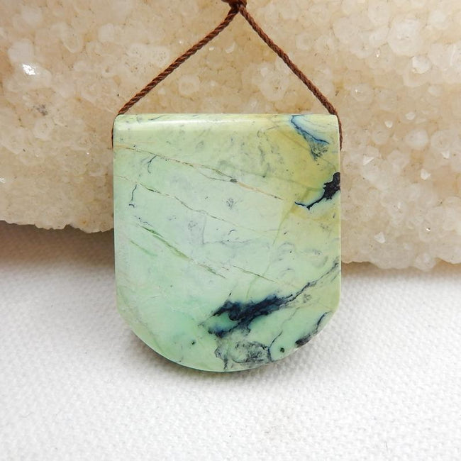 Green Turquoise Side Drilled Pendant Stone, 27x32x10mm, 14g