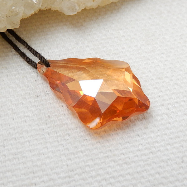 New, Zircon Faceted Pendant Bead, 22x16x6mm, 3.7g - MyGemGarden