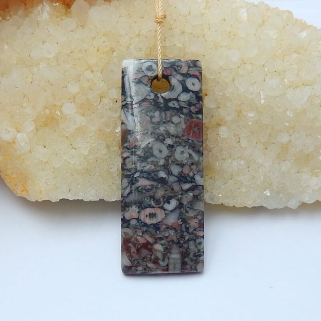 Natural Crinoid Fossil Drilled Long Rectangle Pendant Bead, 53x20x6mm, 13.9g - MyGemGarden