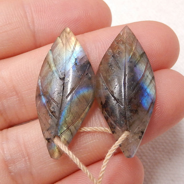 Labradorite Carved Leaf Earrings Stone Pair, 28x13x4mm, 3.8g - MyGemGarden