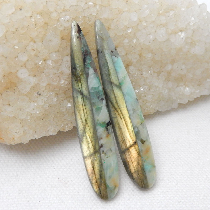 Chrysocolla And Labradorite Glued Long Gemstone Earrings Stone Pair, 60x11x5mm, 10.4g - MyGemGarden