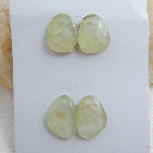 2 Pairs Natural Prehnite Drilled Gemstone Cabochons, 17x12x7mm, 6g - MyGemGarden