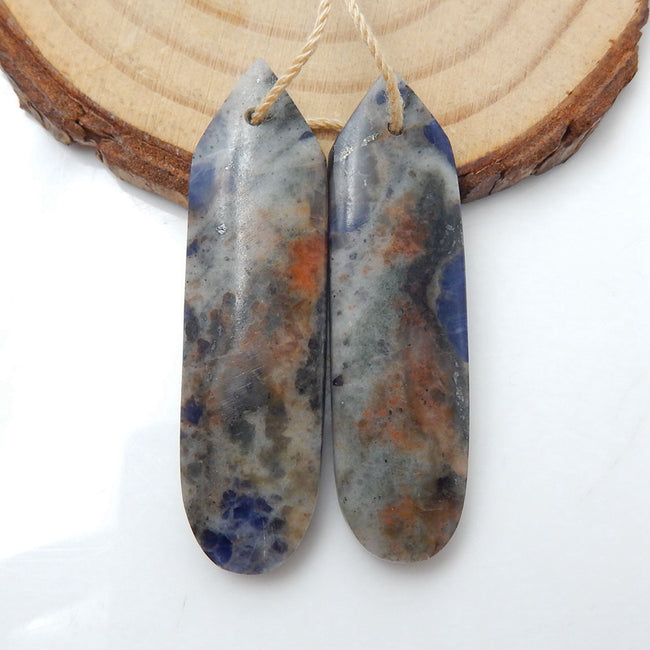 African Sodalite Earrings Stone Pair, stone for earrings making, 40x11x5mm, 8.6g - MyGemGarden