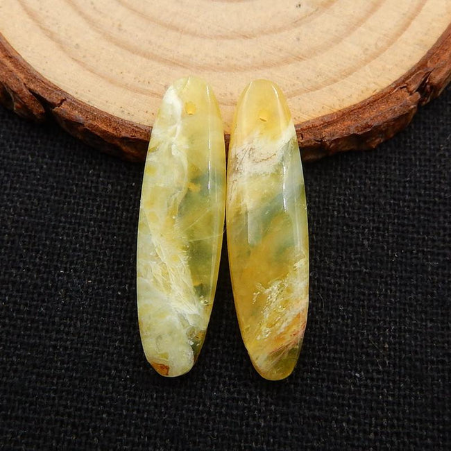 Yellow Opal Earrings Stone Pair, 30x8x4mm, 2.8g - MyGemGarden