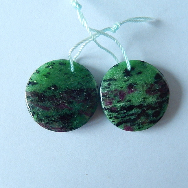 Natural Ruby And Zoisite Gemstone Earrings Pair,22x5mm,9.75g - MyGemGarden