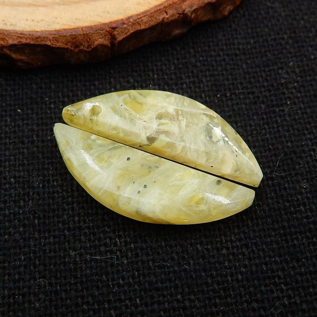Yellow Opal Earrings Stone Pair, stone for earrings making, 24x7x4mm, 1.9g - MyGemGarden