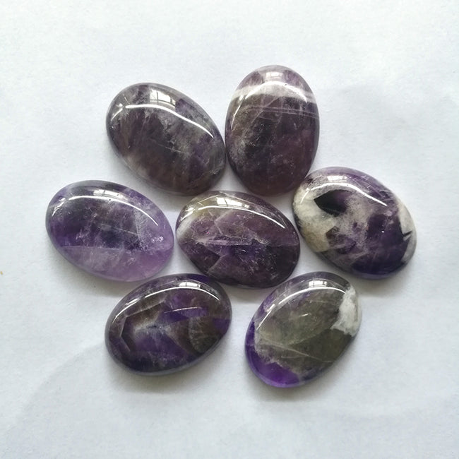 Wholesale 1 pc Natural Oval Flatback Purple Amethyst Cabochon, with white stripes, 25mm 30mm - MyGemGarden