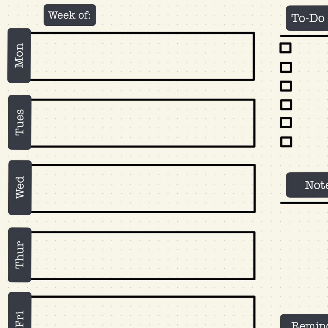 Weekly Planner Downloadable