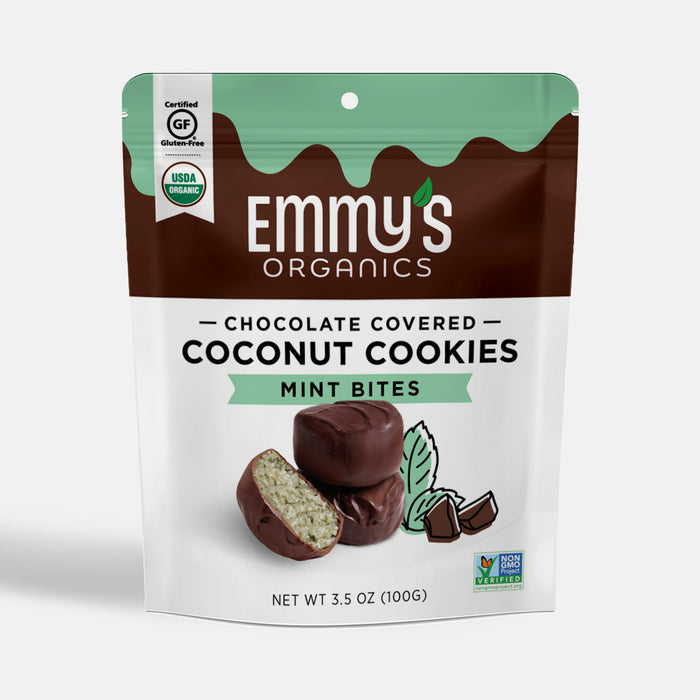Organic Chocolate Covered Coconut Cookie Bites - Mint (6 Bags)
