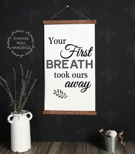 Wood & Canvas Wall Hanging - Your First Breath - Baby Nursery Wall Art Large