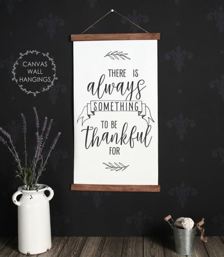 Wood & Canvas Wall Hanging, Always Thankful Kitchen Wall Art Large