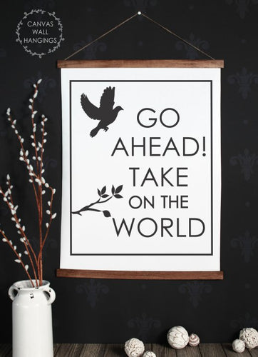 Wood & Canvas Wall Hanging, Baby Nursery Wall Art Take on the World XLarge