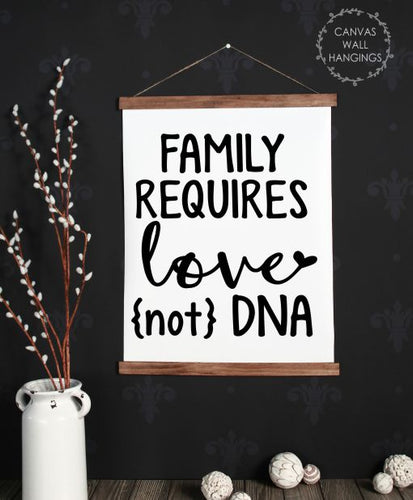 Wood & Canvas Wall Hanging, Adoption Quote Sign Requires Love Not DNA Large
