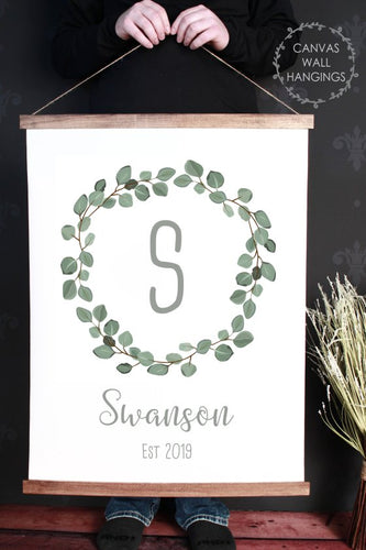 Wood & Canvas Wall Hanging Wreath Monogram Name Customized Wall Sign Xlarge