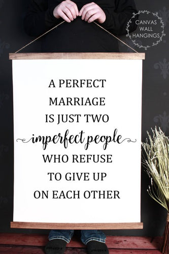 Wood & Canvas Wall Hanging, A Perfect Marriage Is Just, Wall Art Sign XLarge