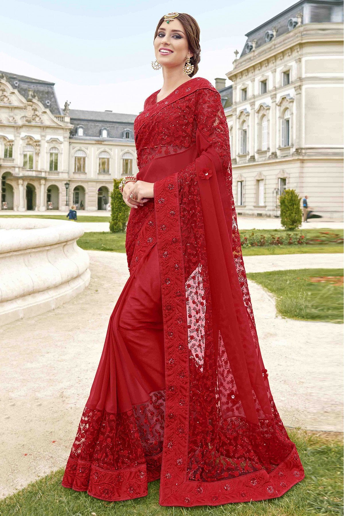 fa8bdee4dc7 INDIAN RED SAREE – ladieshouse.pk