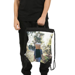 The Hiding Face Canvas Drawstring Bag