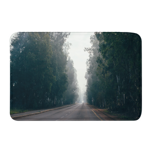 Foggy Forest Road Bath Mat