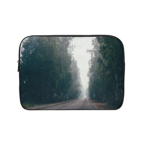 Foggy Forest Road Laptop Sleeve