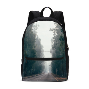 Foggy Forest Road Small Canvas Backpack