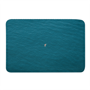 A Man In A Blue Sea Bath Mat