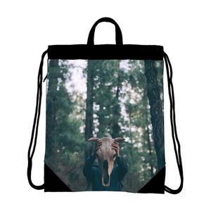 Cow Skull Canvas Drawstring Bag