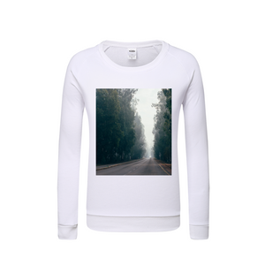 Foggy Forest Road Kids Graphic Sweatshirt