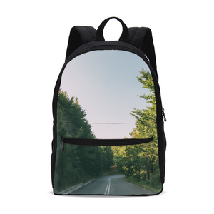 Forested Road Small Canvas Backpack