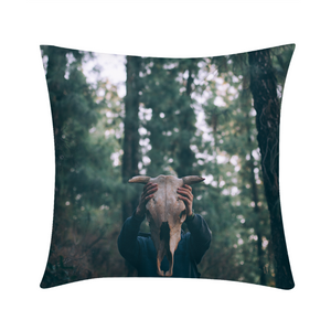 "Cow Skull Throw Pillow 16""x16"""