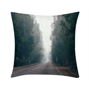 "Foggy Forest Road Throw Pillow 16""x16"""