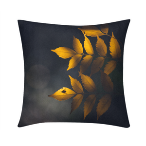 "Yellow Leaves Throw Pillow 16""x16"""
