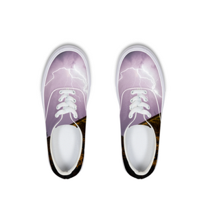Purple Light Lace Up Canvas Shoe