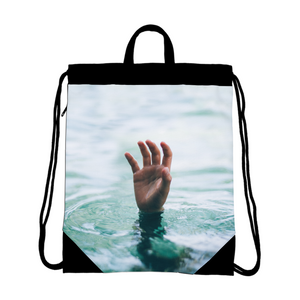 The Lost Hand Canvas Drawstring Bag