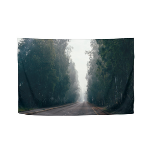 "Foggy Forest Road Tapestry 60""x40"""