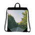 Forested Road Canvas Drawstring Bag