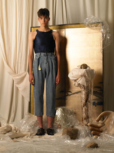 High-waist Pleated Trousers - Denim