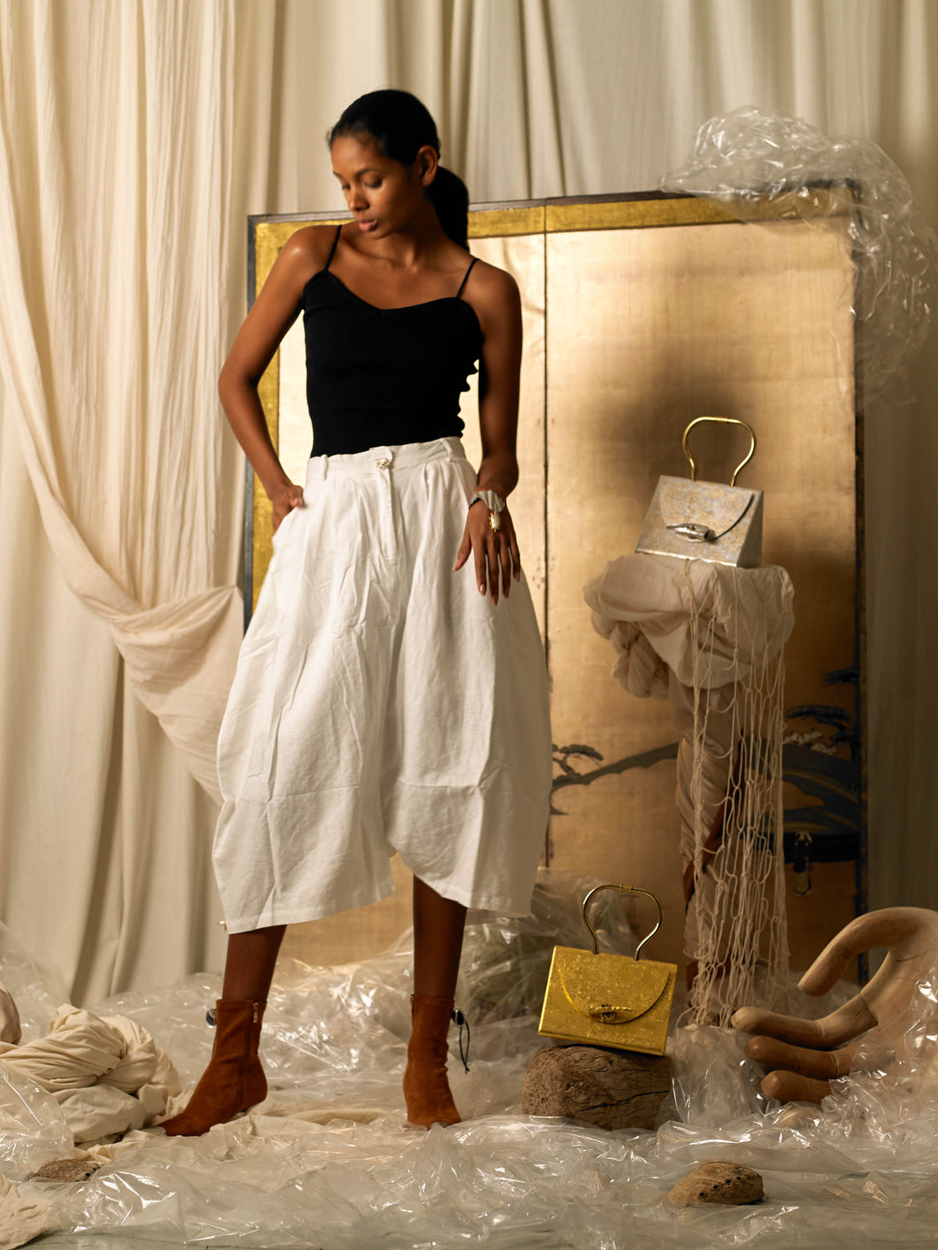 Creased Pant-skirt - Ivory