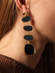 Eolian Earring (Reversible style) - Black / Gold - Pair