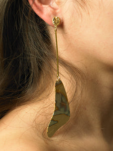 Gravia Drop Earrings - Gold/Tarnished Sun - Pair