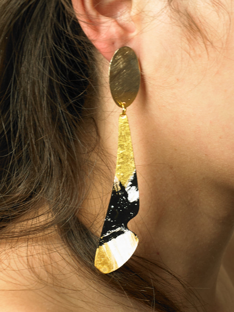 Velos Drop Earrings - gold/Interference - Pair
