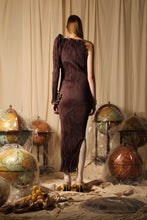 Load image into Gallery viewer, Techno-pleat Vine dress - Brown
