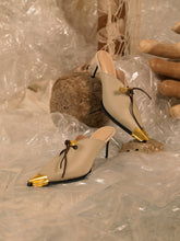 Load image into Gallery viewer, Artisanal Lunna Heeled Mules - Sand/Gold