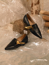 Load image into Gallery viewer, Artisanal Riya Mules - Black / Gold