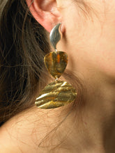 Load image into Gallery viewer, Levo Earrings - Gold/Tarnished Sun - Pair